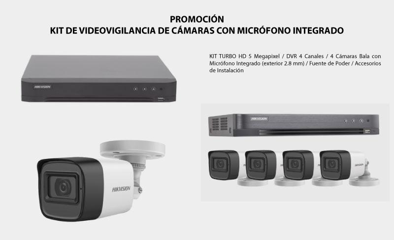 Kit de Videovigilancia de Cámaras con MICRÓFONO INTEGRADO